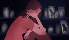 kobieta po aborcji i embriony w formalinie