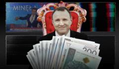 Prezes TVP Jacek Kursi siedzi na tronie otoczony pieniędzmi