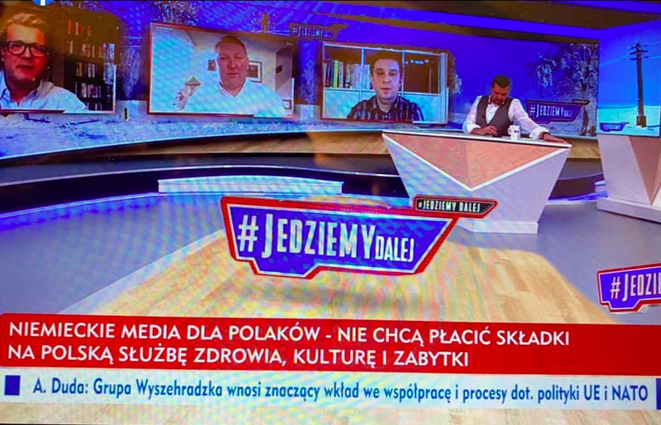 """program """"Jedziemy"""" w TVP Info, którego tematem był protest w mediach"""
