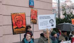 Pikieta przed prokuratura w Warszawie w zwiazku ze sprawa smierci Jolanty Brzeskiej