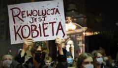 Męzczyzna z masce trzyma baner z napisem Rewolucja jest kobietą