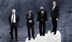 Liderzy Zjednoczonej Prawicy stoją na podium, poza nim znajduje się Jarosław Gowin. To wynik sondażu wśród wyborców PiS