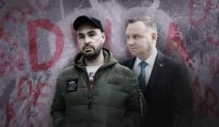 Pisarz Jakub Żulczyk i prezydent RP Andrzej Duda, w tle różne fragmenty napisów m.in.