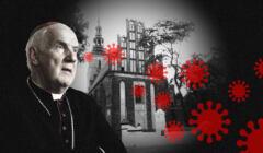 Biskup na tle kościoła i symbole covid-19