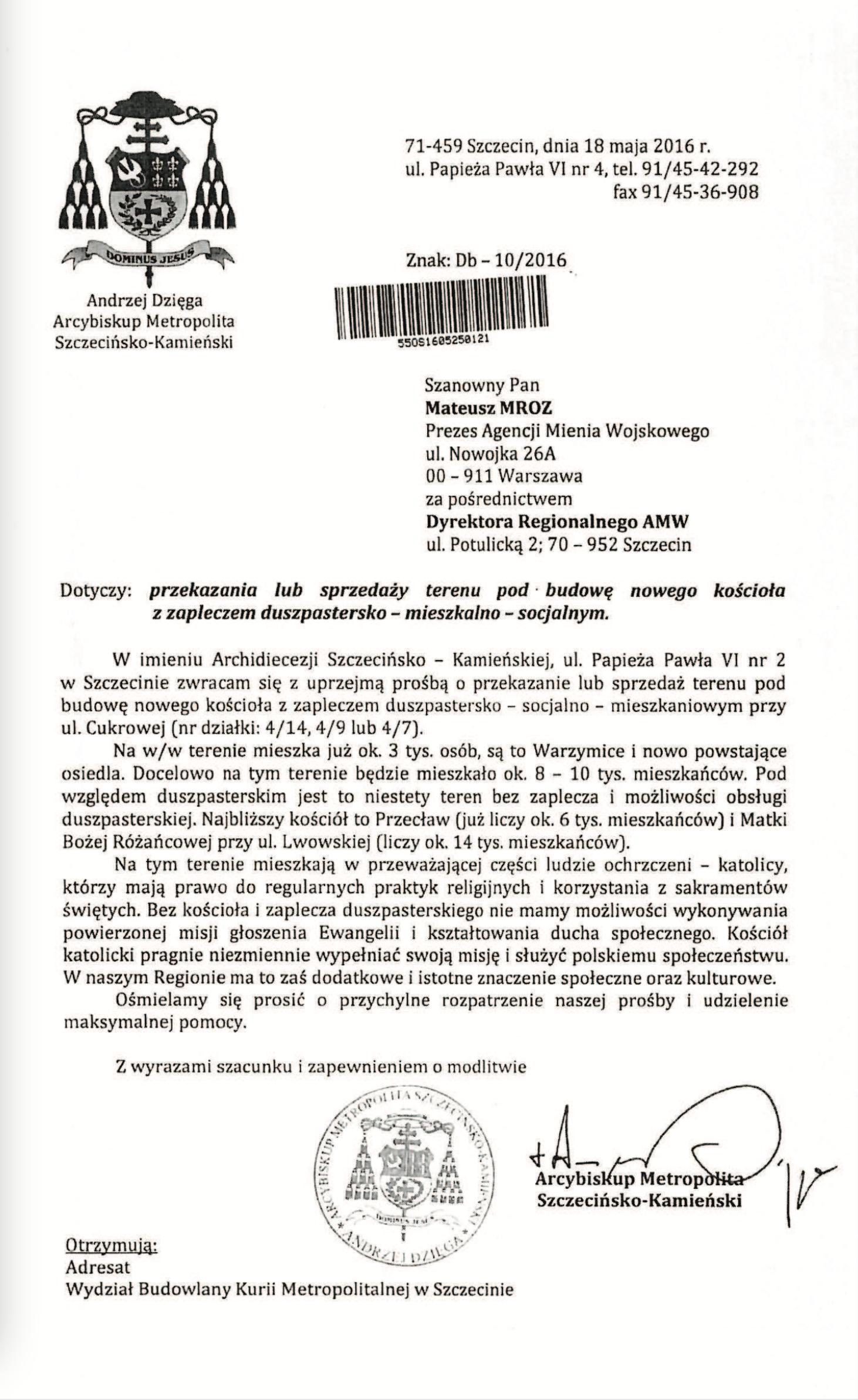 Abp Andrzej Dzięga pisze do Agencji Mienia Wojskowego ws. działki pod kościół.