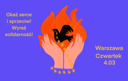 Plakat protestu w Warszawie o uchodźczyni, która się podpaliła