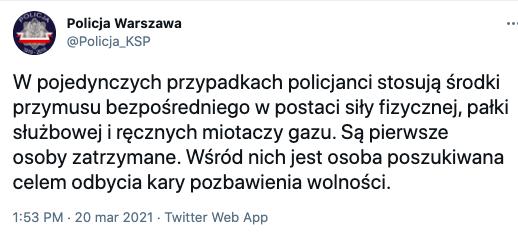 """Stołeczna policja o demonstracji przeciwników szczepień: """"Są pierwsze osoby zatrzymane"""", 20 marca 2021"""