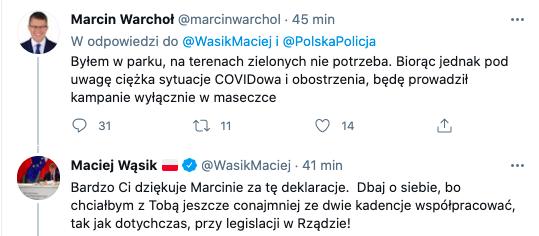 """Marcin Warchoł odpowiada Maciejowi Wójcikowi: """"będę prowadził kampanie wyłącznie w maseczce"""", 27 marca 2021, źródło: Twitter"""