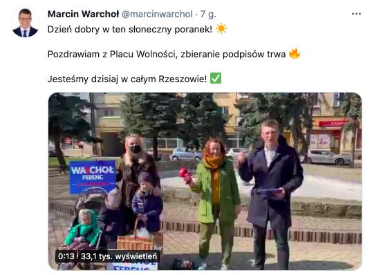 Marcin Warchoł na Placu Wolności w Rzeszowie, z rodziną, bez maseczki, 27 marca 2021, źródło: profil na Twitterze Marcina Warchoła