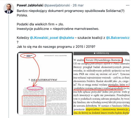 Paweł Jabłoński kontra Sebastian Kaleta, 26 marca 2021, źródło: Twitter