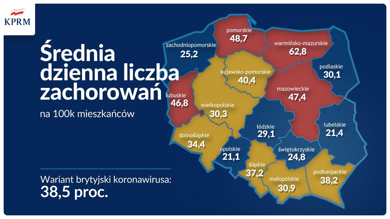 koronawirus na 3. tygodnie przed Wielkanocą - mapa zakażeń w Polsce