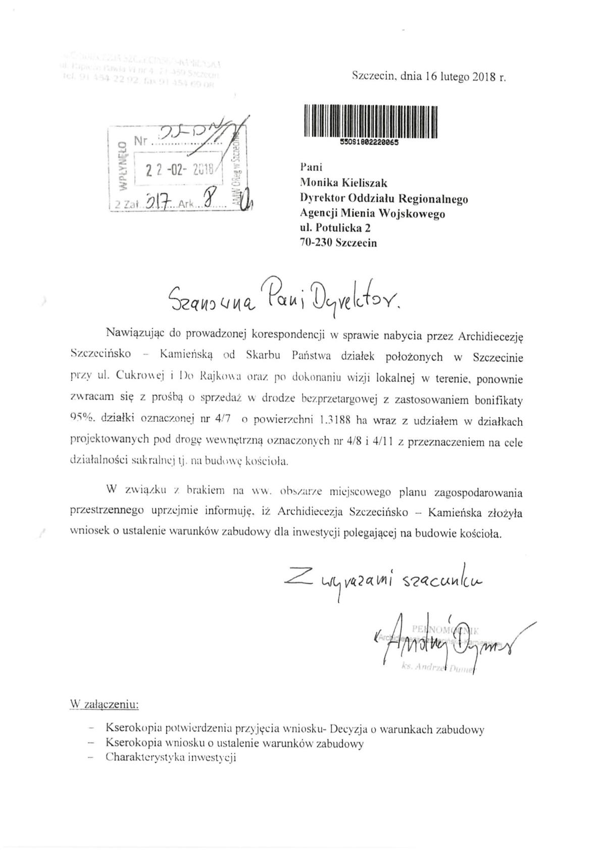 Ks. Andrzej Dymer pisze do Agencji Mienia Wojskowego w sprawie działki pod kościół.