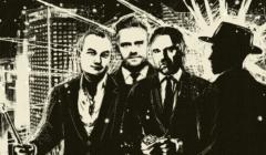 Grafika, na której znajdują się od lewej: Robert Pietryszyn, Adam Hofman, Dawid Jackiewicz i tajemniczy agent CBA