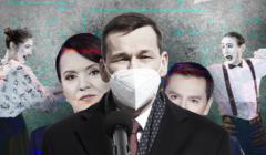 Mateusz Morawiecki, za nim Danuta Holecka i Michał Adamczyk z TVP, w tle dwójka mimów