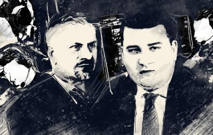 Ilustracja Bartłomieja Misiewicza, Radosława Tadajewskiego i podsłuchujących ich agentów CBA