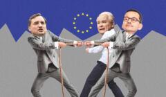 Zbigniew Ziobro, Jarosław Kaczyński i Mateusz Morawiecki przeciągają linę