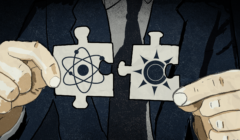 Dwa puzzle z symbolami atomu i energii odnawialnej