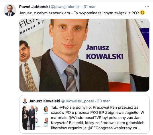 """Janusz, Ty wypominasz innym związki z PO?"""" wiceminister Paweł Jabłoński do byłego wiceministra Janusza Kowalskiego, kłótnie w koalicji rządzącej, źródło: Twitter"""