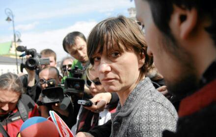 Ewa Stankiewicz na pierwszej rocznicy katastrofy smoleńskiej