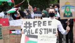 Pikieta przed Ambasada Panstwa Palestyny w Warszawie