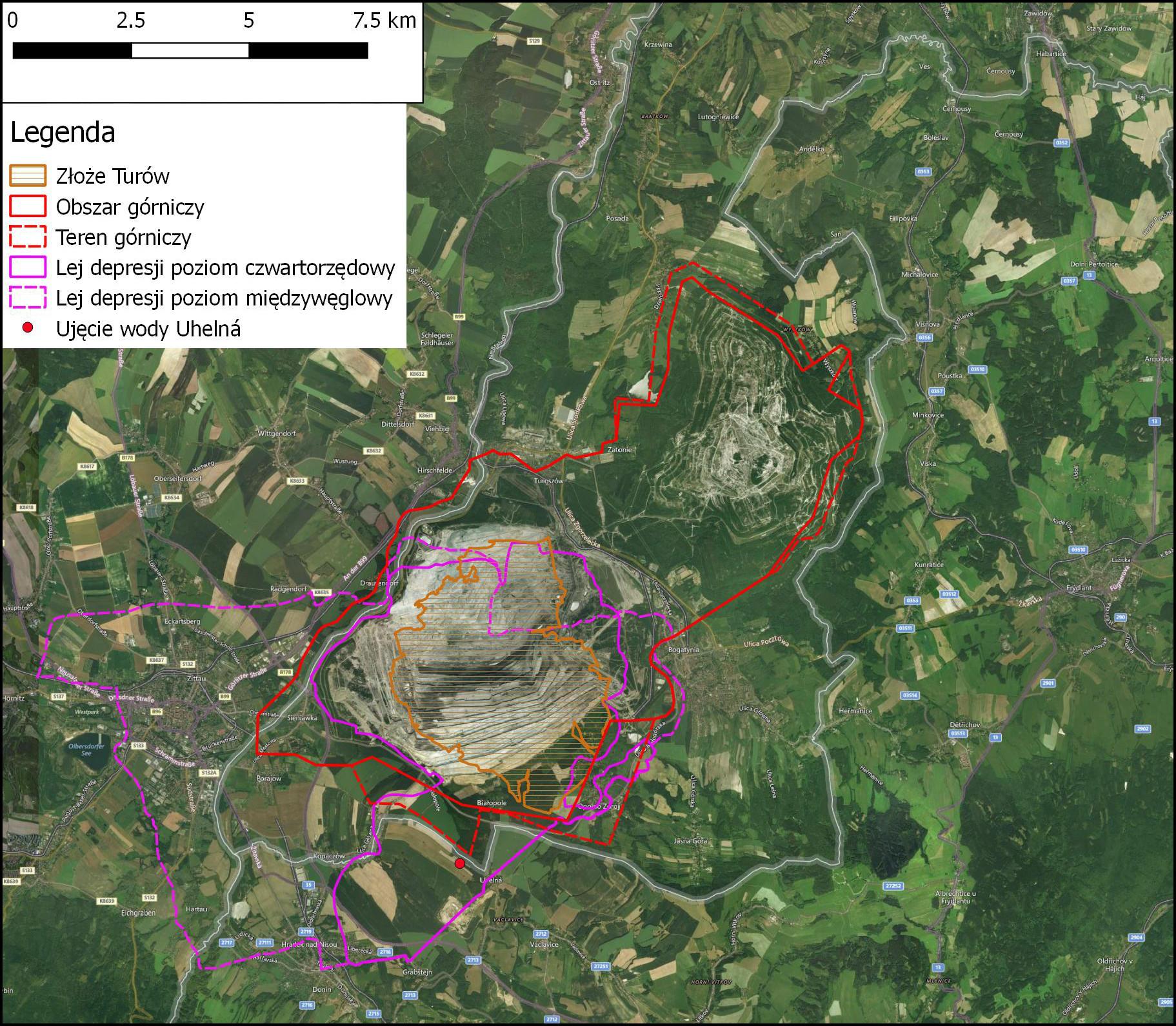 Mapa terenów wokół kopalni Turów