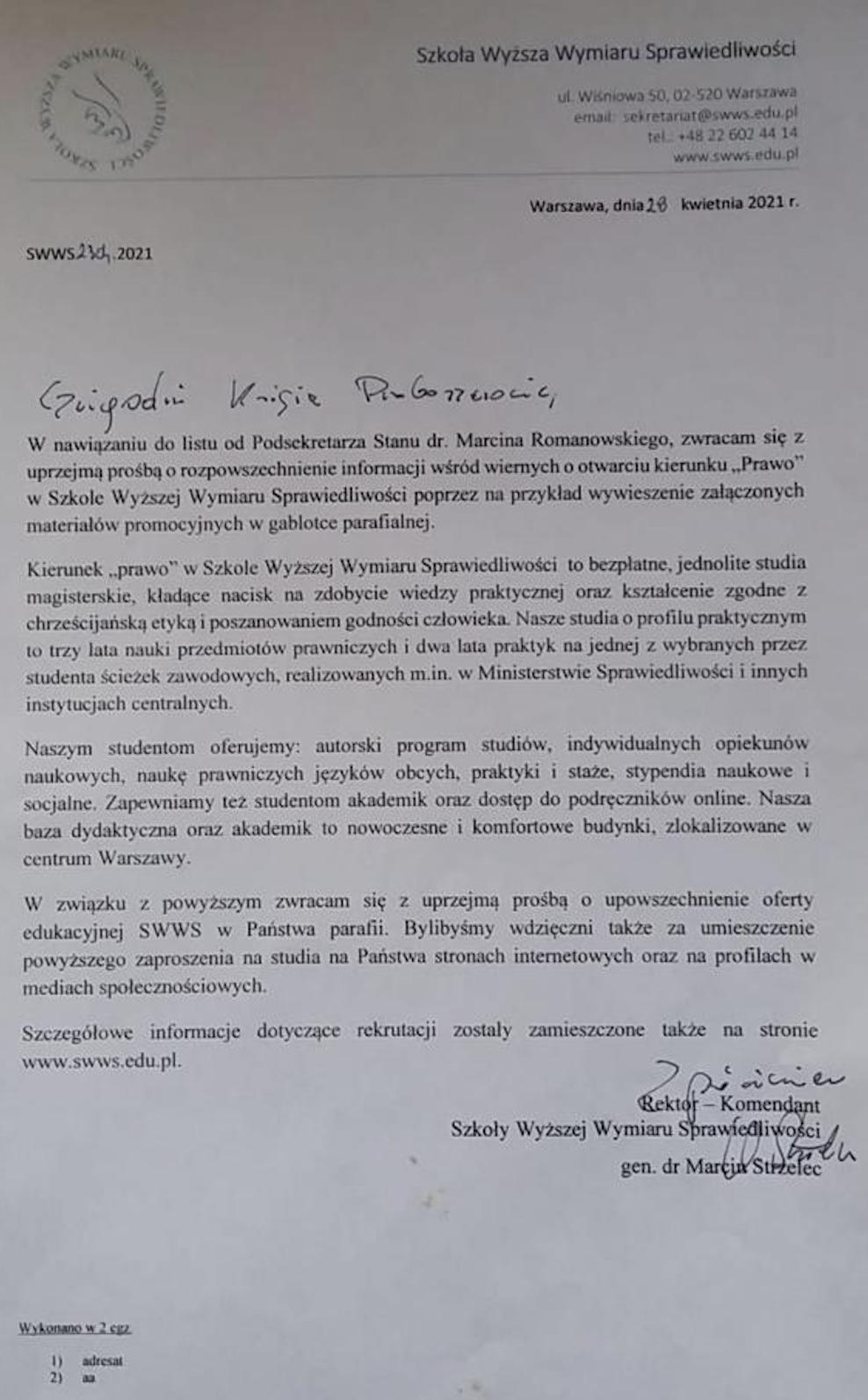 Gen. dr Marcin Strzelec, rektor Szkoły Wyższej Wymiaru Sprawiedliwości pisze do proboszczów z prośbą o pomoc w rekrutacji.