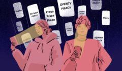 Rysunek przedstawia dwie osoby oświetlane ekranami smartfonów