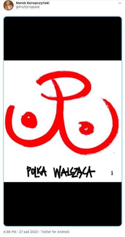 """Tweet Marka Konopczyńskiego z obrazkiem """"Polka walcząca"""""""