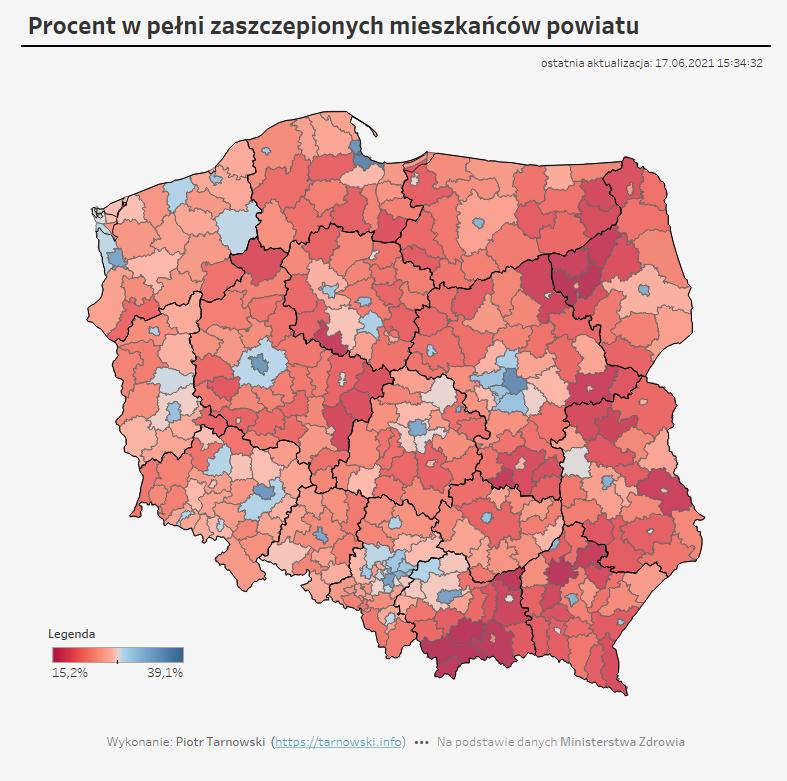 odsetek zaszczepionych w gminach