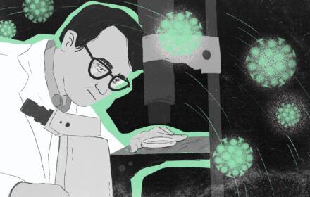 rysunek przedstawiający naukowca w laboratorium