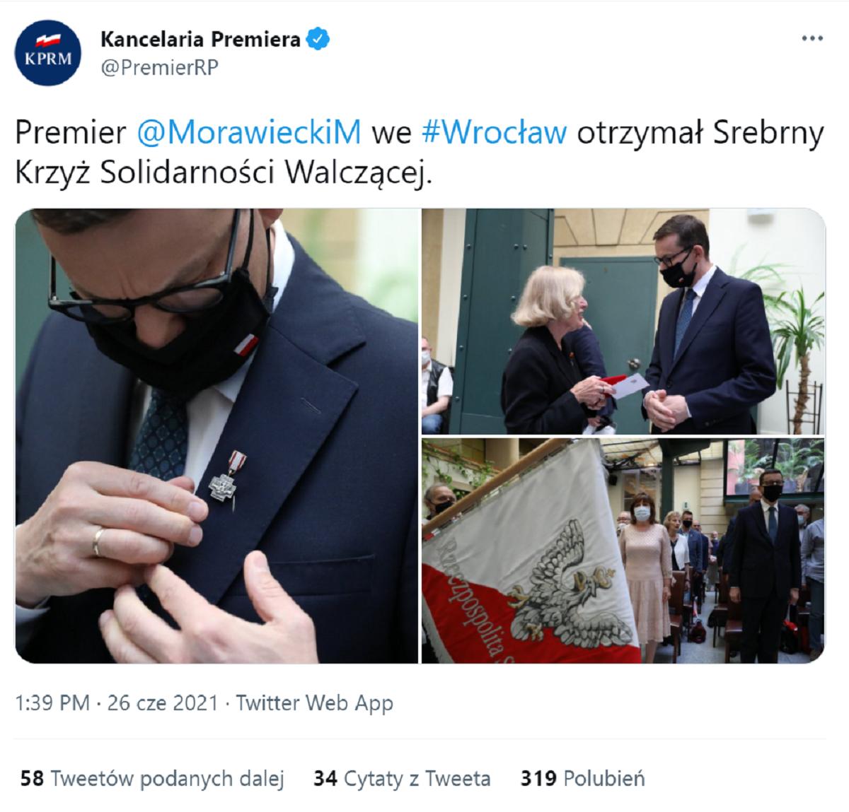Morawiecki odznaczony Krzyżem Solidarności Walczącej