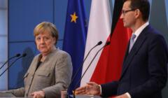 Angela Merkel i Mateusz Morawiecki na wspólnej konferencji prasowej