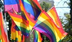 Parada Równości - tęczowe flagi na tle pałacu kultury