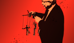 Jarosław Kaczyński sterujący marionetkami