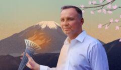 Andrzej Duda z olimpijskim zniczem na tle Góry Fuji
