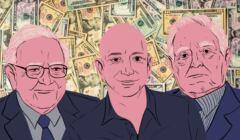 Ilustracja przedstawiająca miliarderów, m.in. Jeffa Bezosa
