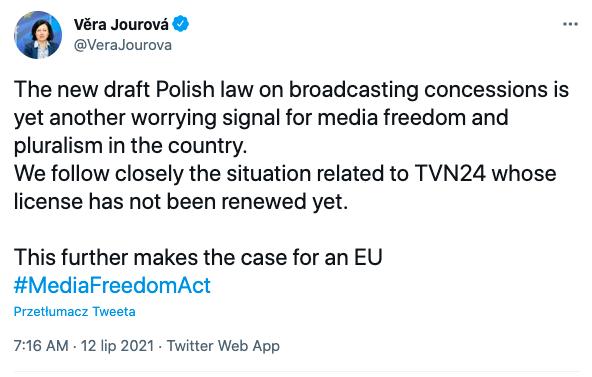 Vera Jourova, wiceprzewodnicząca Komisji Europejskiej, o lexTVN, 12 lipca 2021