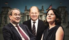 wybory w Niemczech - Armin Laschet, Annalena Baerbock i Olaf Scholz
