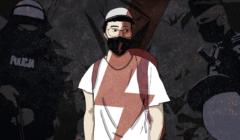 Grafika z sylwetka młodego męzczyzny w masce i z symbolem błyskawicy - strajku kobiet