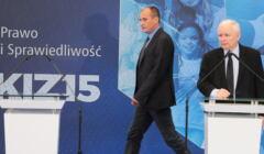 Paweł Kukiz i Jarosław Kaczyński na konferencji o współpracy programowej PiS i Kukiz'15, 14.06.2021