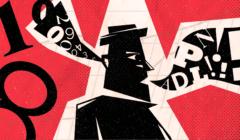 Kontur postaci z cyframi wpadającymi do ucha i literami w komiksowym dymu z drugiej strony