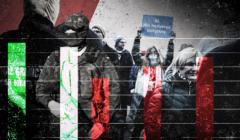 Kolaż zdjęć przedstawiający (od lewej): funkcjonariuszy Straży Granicznej; osoby protestujące za przyjmowaniem uchodźców do Polski