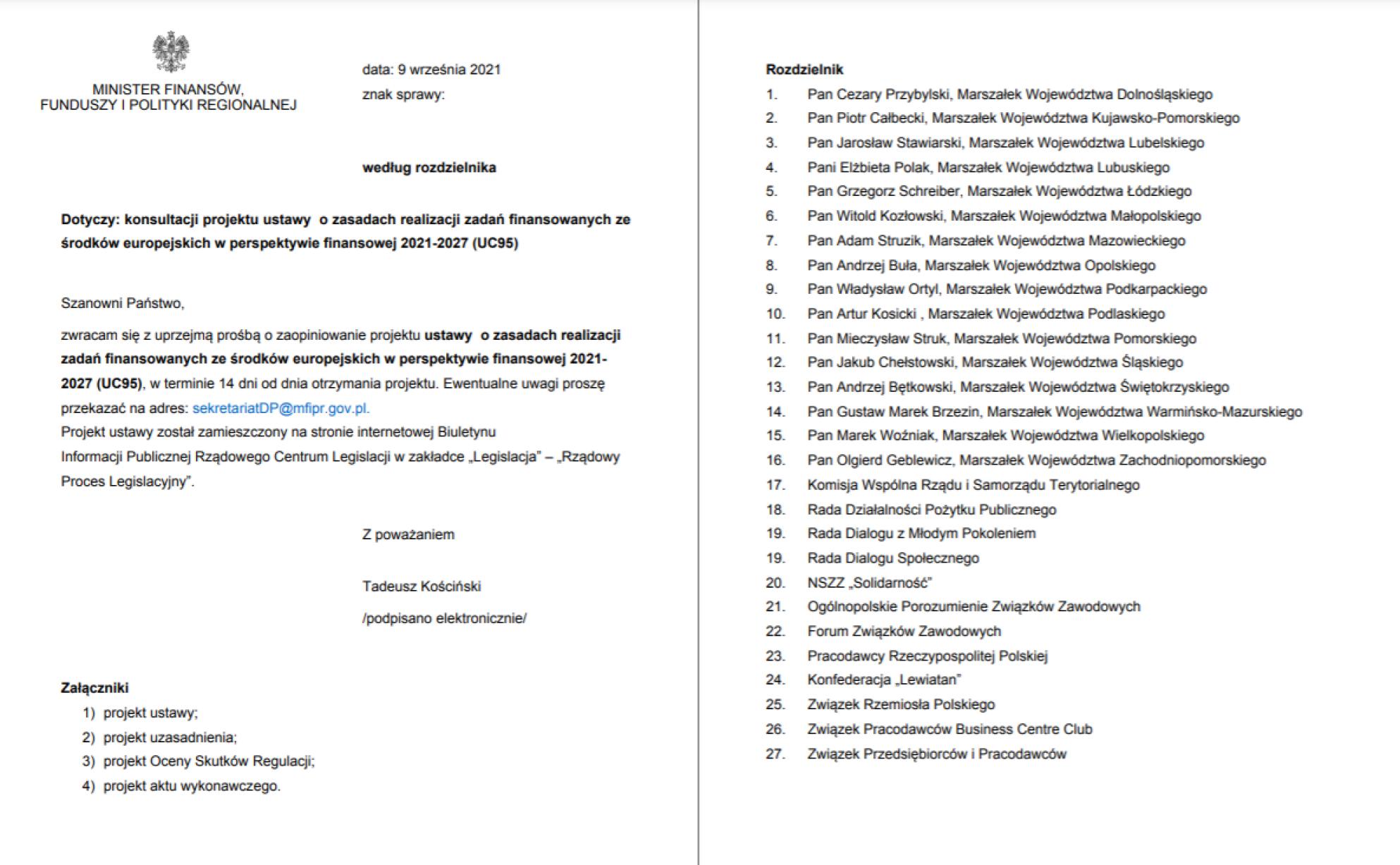 Dokument rządowy z listą interesariuszy