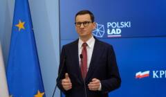 Premier Mateusz Morawiecki na konferencji prasowej.