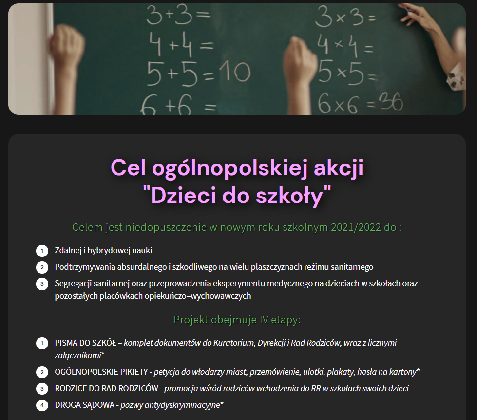 """ulotka przedstawiające cele akcji """"Dzieci do szkoły"""""""