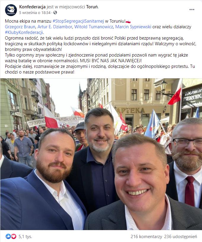 screen z FB: przedstawiciele Konfederacji na marszu antyszczepionkowym w Toruniu