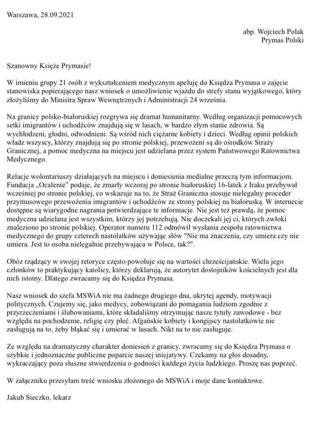 List medyków do prymasa Wojciecha Polaka z prośbą o poparcie ich wniosku do MSWiA ws. wstępu do strefy stanu wyjątkowego.