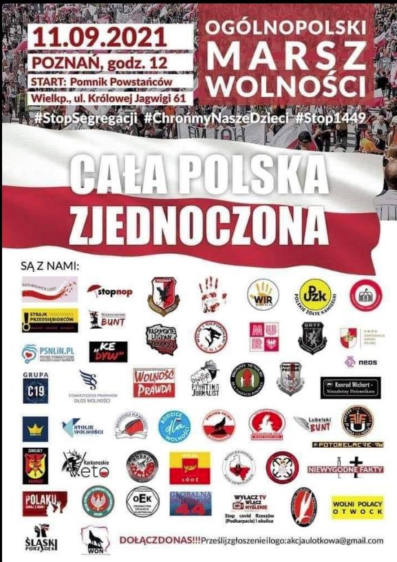 ulotka zapraszająca na Marsz Wolności 11 września w Poznaniu