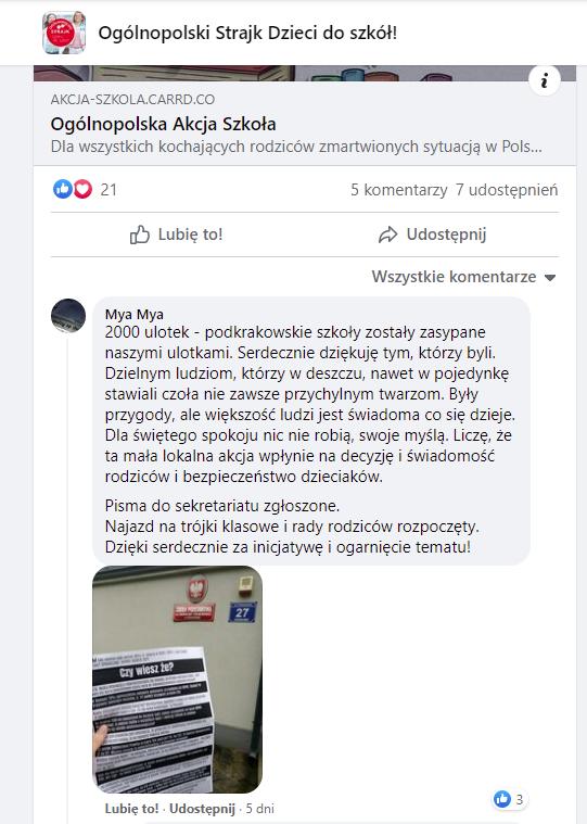 skan z FB informujący o akcji ulotkowej w podkrakowskich szkołach