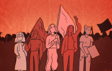 Grafiika w kolorze bordo przedstawiająca sylwetki kobiet z transparentami
